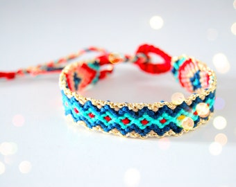 Friendship Bracelet Aztec  Handwoven . Crimson & Blue
