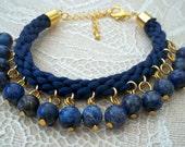 Blue Satin Kumihimo Bracelet with Lapis Lazuli Beads & Gold Plated Fastenings