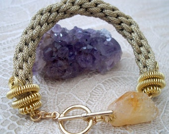 Gold Coloured Kumihimo Bracelet with Citrine Nugget, Gold Plated Wire & Gold Plated Toggle Clasp