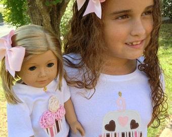 18 Inch Doll & Girl Matching Birthday Tee T-Shirt Hair Bow Set Fits American Girl