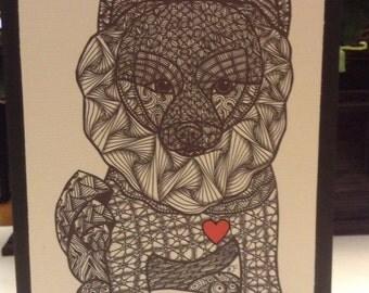 Zentangle Inspired Pomeranian Note Card, Pomeranian Print,  Love Card