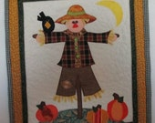 SCARECROW With Ribbon Hanger Mini Wall Art Quilt Home Décor Fall Thanksgiving Display Gift