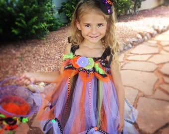 READY TO SHIP Trick or Treat Witch Tutu Dress with Hat Headband