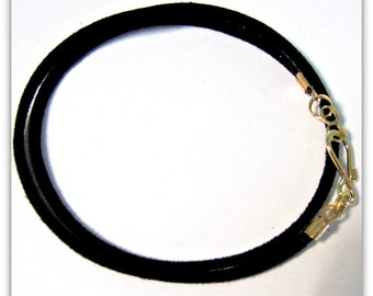 14 to 24 inch Black Necklace Cord, Black Faux Suede Cord, Gold Designer Hook Clasp,  Black Cord, Custom