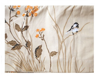 1970s Chickadee Top Sheet Browns Oranges Light Brown Vintage Linens Twin Size Top Sheet