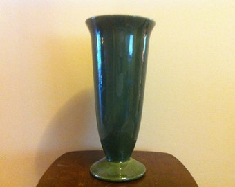 "Vintage Art Pottery, Hull Pottery ""Imperial"", Green Vase, Trumpet Vase, American Art Pottery, Majolica Green, Tall Flower Vase"