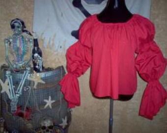 Red Pirate Renaisssance Chemise Shirt