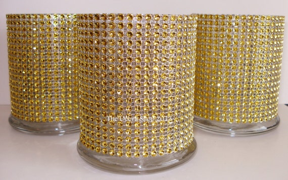 Glass Cylinder Vases Gold Bling Wedding 50th Anniversary