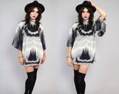 Vintage 70s Mod Geometric Boho Abstract Angel Slv Tunic Mini Dress S-M