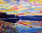 Giclee Canvas PRINT The Denman Sunrise - 8x10 Signed Limited Edition Colorful Coastal Ocean Art