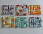 fused glass tiles - mosaic supplies - handmade fused glass - glass art supplies - mosaic tiles - multi coloured glass