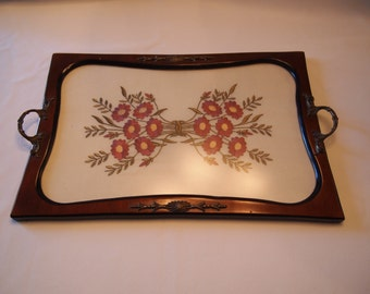 1930s Embroidery and Wood Serving Tray