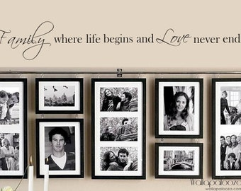 Family Wall Decal - Family where Life begins and Love never Ends. Wall sticker quote. Vinyl wall sticker.