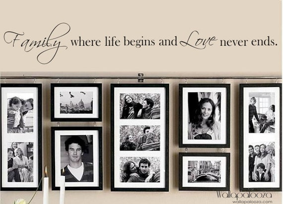 Family Wall Decal - Family where Life begins and Love never Ends. Wall  sticker quote
