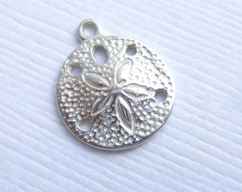 Sterling Silver Sand Dollar Charms --  1 Piece -- 925 Sterling Beach Pendants Nautical Connectors