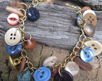 Handmade Button Bracelet SB68  summer sunrise beach