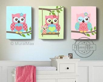 Girl Room Decor - OWL canvas art, Baby Nursery  Owl Canvas Set,  woodland nursery art , Owl print for nursery.