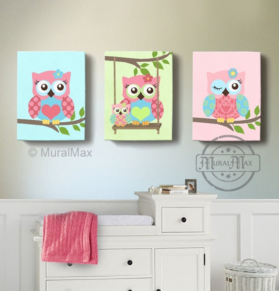 Girl room decor owl canvas art baby nursery owl canvas for Room decor etsy