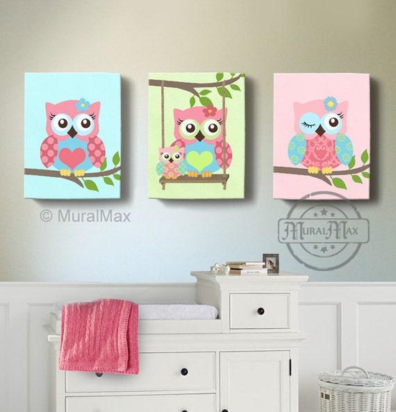 Girl Room Decor Owl Canvas Art Baby Nursery Owl By Muralmax