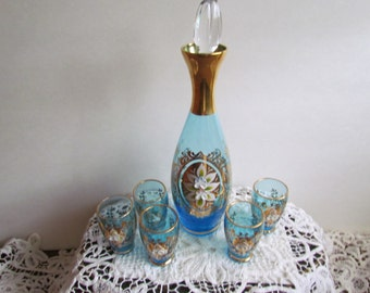Vintage 7 piece Cordial Set in Blue with Gold Overlay with Hand Painted Raised Flowers.