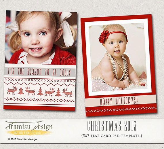 Christmas card template 5x7in photoshop template by tiramisudesign for Photoshop christmas card template