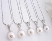 15% OFF SET of 8 Bridesmaid Gift Wedding Jewelry Bridal Jewelry Ivory White OR Cream Swarovski Round Pearl Drop Necklace Hypoallergenic