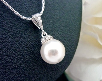 Wedding Jewelry Bridesmaid Gift Bridesmaid Jewelry Bridal Jewelry Ivory White OR Cream Swarovski Round Pearl Drop Necklace Hypoallergenic