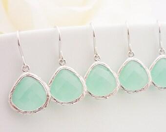 10% OFF SET of 4 Bridesmaid Gift Bridesmaid Jewelry Wedding Jewelry Bridal Earrings Mint Tear Drop Earrings Sea Foam Chalcedony Earrings