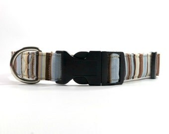 Brown and Blue Custom Dog Collar, Adjustable Collar, Neutral Dog Collar in all Sizes for All Coat Colors