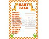 Giraffe Baby Shower Game, Baby Shower Word Scramble, Orange Giraffe Theme Baby Shower, Printable Jungle Baby Shower Game, Orange Baby Shower