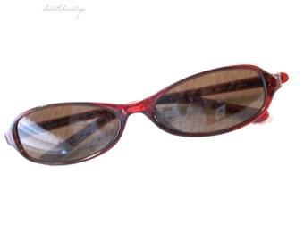 Allen Afflelou sunglasses -70s- old classic glasses- brown glasses- sun glass- fashion beach item- brown sunglasses- small oval glasses