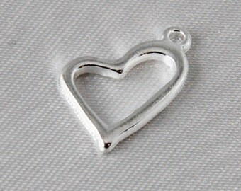 10 pcs - 20mm x 14mm Silver Open Heart Charms