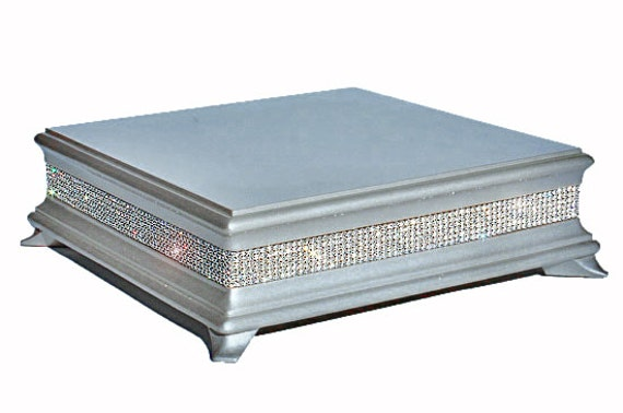 14 inch Square Silver Diamond Cake Stand by WeddingFads on