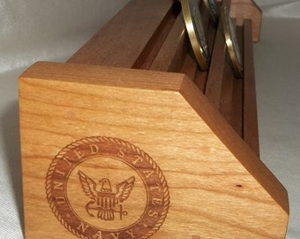 Natural Cherry & Oak  NAVY Challenge Coin Display Holder Holds 15-21 Coins