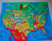 UNITED STATES Cloth Fabric Map Panel - Teachers are ordering this in quantity - Wall hanging, quilt, table cloth