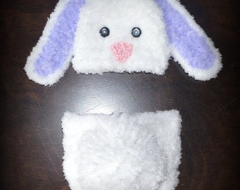 Crochet Easter Fluffy Bunny Baby Beanie Hat & Diaper Cover Photo Prop Custom Made Boy Girl Rabbit