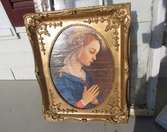 Vintage Florentine Madonna Italy Italian Gesso Gold Gilt Wooden Frame Wall Hanging