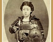 Fridge Magnet image of Female Warrior from feudal Japan Japanese Onna-Bugeisha
