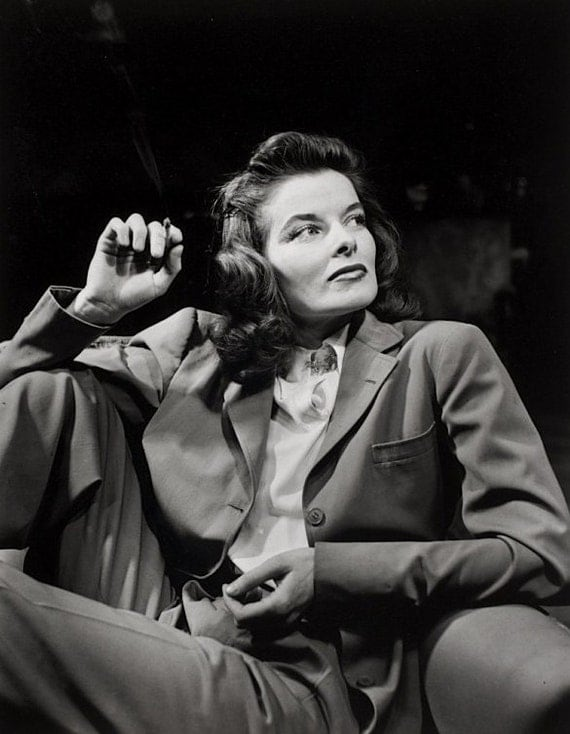 Fridge Magnet Katharine Hepburn sitting and looking very Kate The Great