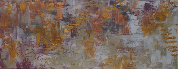 Original Abstract Painting Modern Acrylic Art on Canvas 40 x 16 x 1.5