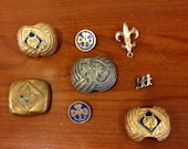 SALE-Vintage 1950's Lot of 8 Boy Girl Scout Scarf Clips and Pins