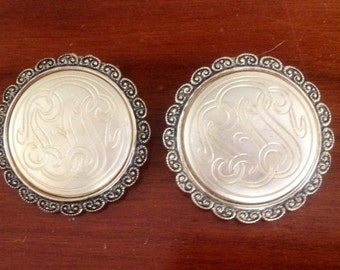 SALE=Vintage Pair of Gold Tone Filigree Scarf Shoe Clips W. Germany