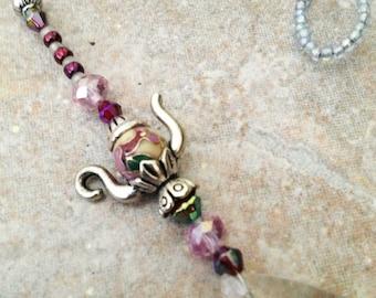 Suncatcher Pewter Teapot Charm Cloisonne Beads Prism Home Hostess Tea Gifts Under 10