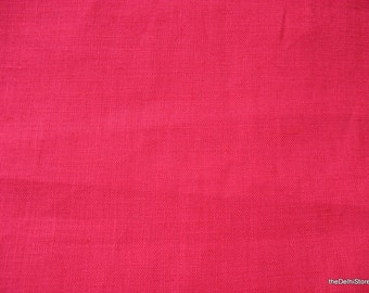 Extra Wide Fuchsia Color Pure Linen Fabric Remnant