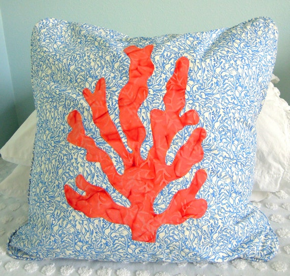 Sea Coral Throw Pillows : Sea Coral Pillow by SeaQuiltsShop on Etsy