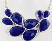 NEW silver tone bubble necklace Colorful Bubble Necklace, Drop Shape Necklace,bib necklace  Resin Jewelry  (FN0542-Royal Blue)