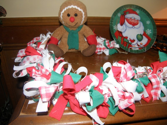 Christmas colorful swag garland by needleinthethread for Christmas swags and garlands to make