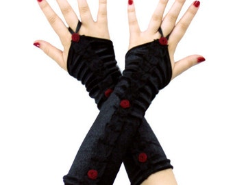 Soft Black Velvet Gloves, gothic, victorian, lolita, punk, harajuku, vampire, fingerless, arm warmers, red roses, gloves, sexy, beautifull