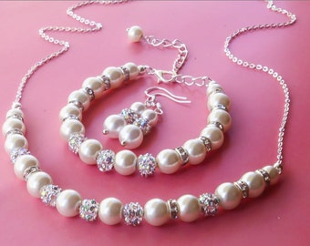 GOLD or SILEVR Pearl Jewelry set with Necklace, Bracelet and Earrings, Bridesmaids Gift, Bridal pearl set
