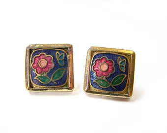 Vintage Dainty Gold Tone Square Flower Post Earrings / Gift for Her / D283